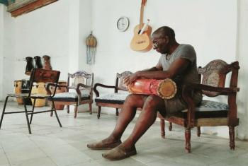 Traditional batá drum maker in Cuba.