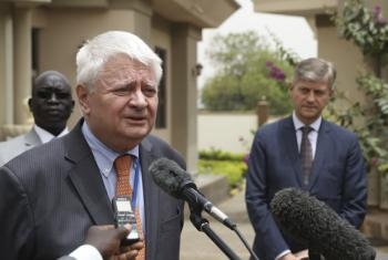 Hervé Ladsous (left), outgoing Under-Secretary-General for Peacekeeping Operations, during his visit to South Sudan with his successor, Jean-Pierre Lacroix (right).