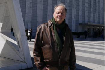 "Swedish historian and biographer Henrik Berggren at UN Headquarters on 28 March 2017 to discuss his recently published book entitled ""Dag Hammarskjöld Markings of His Life"".UN News/Jocelyne Sambira"