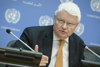 Under-Secretary-General for Peacekeeping Operations, Hervé Ladsous, addresses journalists in New York during his final briefing.