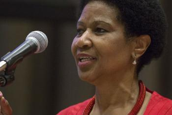 UN Women Executive Director Phumzile Mlambo-Ngcuka speaks at International Women's Day event at United Nations Headquarters in New York.