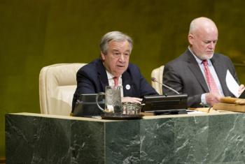 Secretary-General António Guterres (seated left) with Peter Thomson (right), President of the seventy-first session of the General Assembly.
