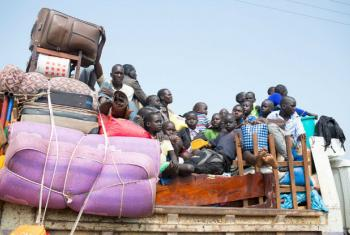 Refugees from South Sudan arrive in Elegu, northern Uganda