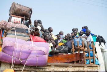 Refugees from South Sudan arrive in Elegu, northern Uganda
