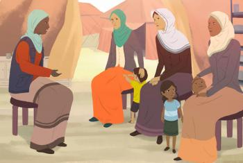 A poster depicting a conversation about depression, at a refugee camp in the Middle East.