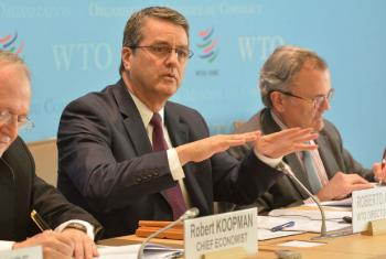 World Trade Organization (WTO) Director-General Roberto Azevêdo announcing the WTO's trade growth projections at a press conference in Geneva.