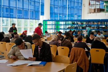 Students at a university library in Rabat, Morocco.