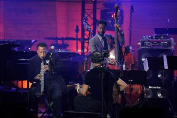 (Left-right) Wayne Shorter, Dhafer Youssef and Ben Williams perform on stage during the International Jazz Day 2015 Global Concert at UNESCO on April 30, 2015 in Paris, France. (Photo by Kristy Sparow/Getty Images for Thelonious Monk Institute of Jazz)