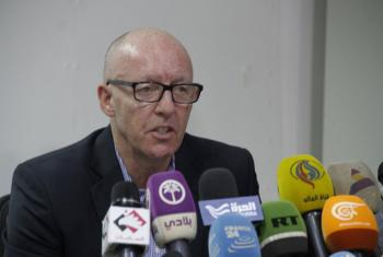 Jamie McGoldrick, UN Resident Coordinator and Humanitarian Coordinator for Yemen, holds press briefing in Sana'a. (file)
