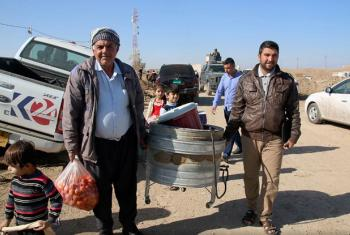 New arrivals at Khazer camp, a safe haven for over 6,000 Iraqis who have fled the fighting in Mosul, just 45 kilometres away.
