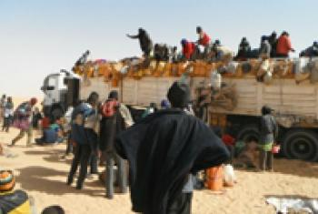 Migrants travelling to Libya across the Sahara Desert.