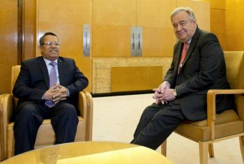 UN Secretary-General António Guterres (right) at a meeting with Ahmed Obaid Mubarek Bin-Dagher, Prime Minister of Yemen, in Geneva.