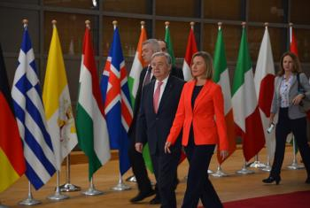 Secretary-General António Guterres at the Brussels Conference on Supporting the Future of Syria and the Region together with Federica Mogherini High Representative of the European Union for Foreign Affairs and Security Policy.