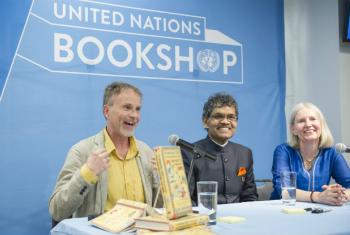 Per J. Andersson (left), Pradyumna Kumar Mahanandia and Charlotte von Schedvin at an event in celebration of the International Day of Happiness at the United Nations Bookshop in New York.