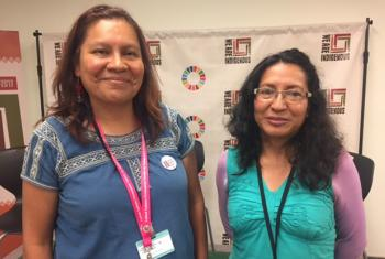 NOTIMIA members Guadalupe Martinez from Mexico and Nidia Bustillos Rodriguez from Bolivia.