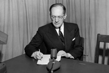 "Dr. Raphael Lemkin, who coined the word ""Genocide"". The Convention on Genocide was drafted by the United Nations to prevent and punish the crime of genocide - the mass destruction of national, ethnical, racial or religious groups as such. UN File Photo"
