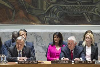 Secretary-General António Guterres (front left) addresses the Security Council ministerial-level meeting on the nuclear weapon and ballistic missile programmes of the Democratic People's Republic of Korea (DPRK). At front right is Rex W. Tillerson, United