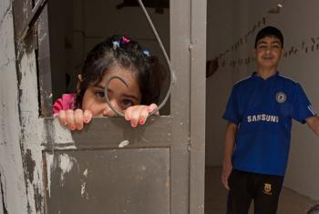 Two Syrian refugees, a brother and sister, in Jordan. (file)