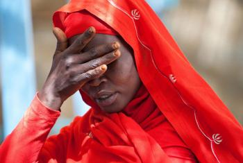 A woman from the Kassab camp for Internal Displaced Persons (IDP), in Kutum, North Darfur, shows her sorrow for the increase of rapes in the area.