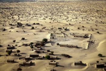 An aerial photograph of the area on the outskirts of Timbuktu, Mali.
