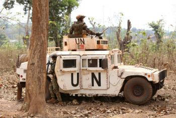 Peacekeepers with the United Nations Multidimensional Integrated Stabilization Mission in the Central African Republic (MINUSCA) on patrol in Bambari.