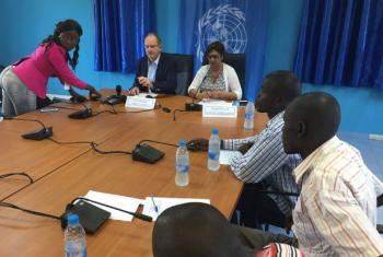 David Shearer (seated, left), head of the UN Mission in South Sudan (UNMISS), briefs the press in the capital Juba.