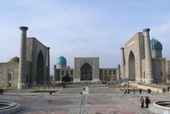 Registan square in Samarqand, Uzbekistan.