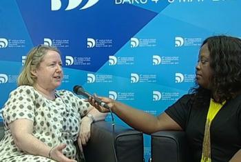 Sue Vize, Regional Advisor for Social Media and Human Sciences at the UNESCO Office in Bangkok (left), being interviewed by Jocelyne Sambira in Baku, Azerbaijan. Screen grab from UN Web TV.