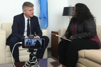 UN peacekeeping chief Jean-Pierre LaCroix at UN HQ in New York on Facebook Live, with UN News' Jocelyne Sambira. Photo