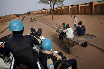 Senegalese UNPOL Officers patrol the streets of Gao, Mali.