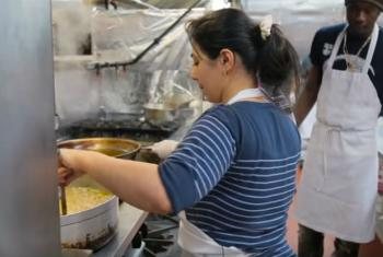 The small kitchen of Eat Offbeat in New York City. UN in Action image.