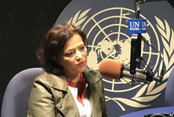 Najat Rochdi, UN Humanitarian Coordinator for the Central African Republic, in the radio studio at UN Headquarters: photo, Pascal Sim.
