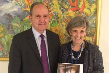 """SRSG Santos Pais (R) and former UN Special Rapporteur on Torture Juan Méndez (L) during UN launch of the new publication """"Protecting Children against Torture in Detention: Global Solutions for a Global Problem"""" on 22 May 2017. Photo/Office of the Special"""