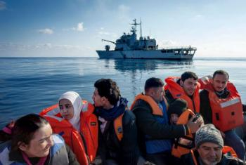 Syrian refugees are rescued in the Mediterranean Sea by crew of the Italian ship, Grecale, March 2014. © UNHCR/Alfredo D'Amato