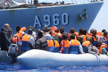 Migrants from the Mediterranean are rescued in the Channel of Sicily, Italy.