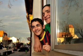Resettled Syrian refugee Muhammed and his brother Yousef at their home in Gänserndorf, Austria.