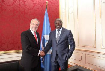 Jose Luis Cancela, Urugua's vice minister of foreign affairs with Lassina Zerbo, CTBTO Executive Secretary at the Science and Technology Conference 2017 in Vienna, Austria.