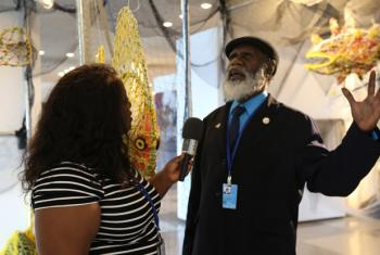 Sid Bruce Short Joe from Australia exhibits his ghost net sculptures during the UN Oceans Conference Centre from 5-9 June 2017.
