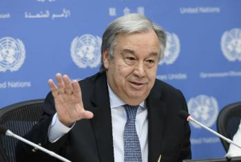 Secretary-General António Guterres addresses a press conference on the occasion of World Refugee Day. In addition to his remarks on the situation of refugees and migration around the world, the Secretary-General fielded questions on a variety of issues, i