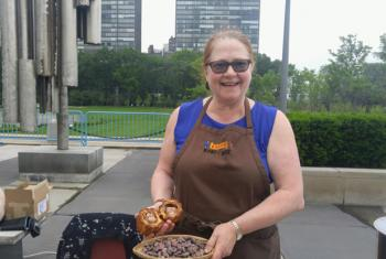 Roni-Sue Kave at the United Nations Green Fair in Nnew York. Photo by Elizabeth Scaffidi
