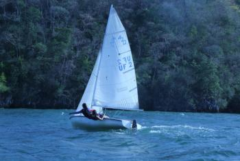 Savana,14 (left), and Kathryn, 19, from Trinidad and Tobago encourage girls to try out sailing.