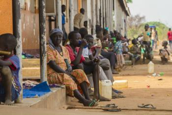 South Sudanese refugees sit at the Nyumanzi reception centre in Adjumani in northern Uganda. File