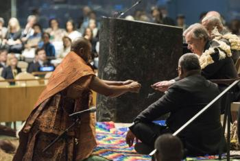 UN Secretary-General participates at the Cultural Opening: Fijian Traditional Welcome Kava Ceremony.