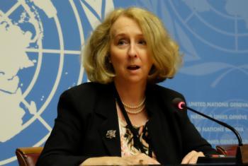 UNICEF's Sally Burnheim, Chief, Advocacy and Innovative Partnerships speaking in Geneva.