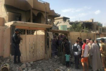 A damaged home in west Mosul, the last part of the city to be retaken from ISIL extremists, where a family has requested help to remove the dead inside.