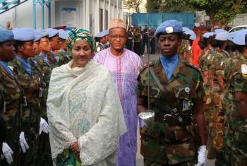 Deputy-Secretary-General Amina J. Mohammed and Maman S. Sidikou, Head of MONUSCO, at the UN Mission.