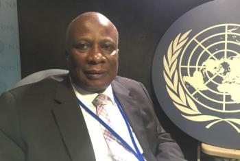 Edward Kallon in the UN Radio studios in New York.