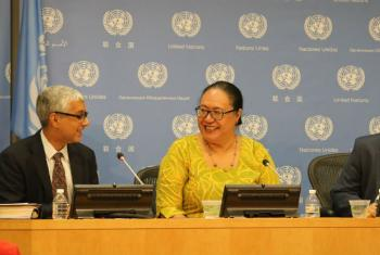 Fekitamoeloa 'Utoikamanu, High Representative for the Least Developed Countries, Landlocked Developing Countries and Small Island Developing States, with UN Deputy Spokesperson, Farhan Haq.