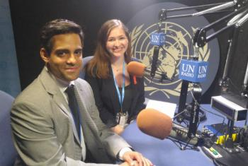 Ruben Pagés of UNAIDS and Hayley Gleeson of the International Planned Parent Federation in the UN News studios.