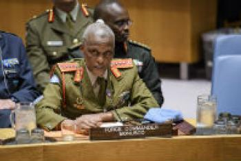 Lieutenant General Derrick Mbuyiselo Mgwebi addresses the Security Council.
